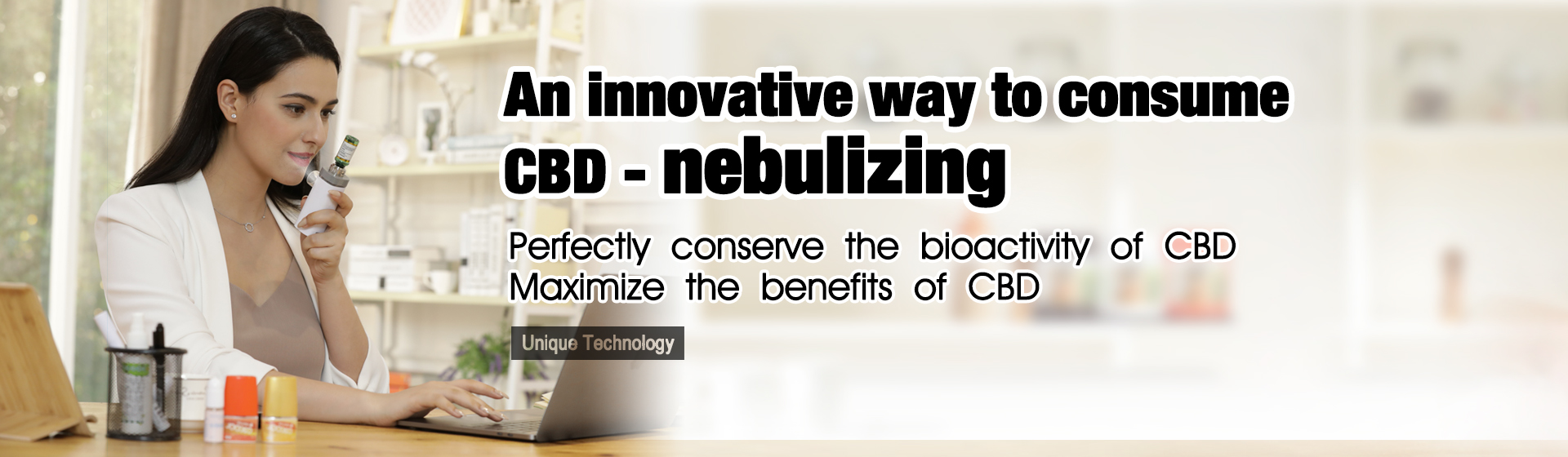An innovative way to consume CBD--nebulizing. CANNAPRESSO MESH V+ technology