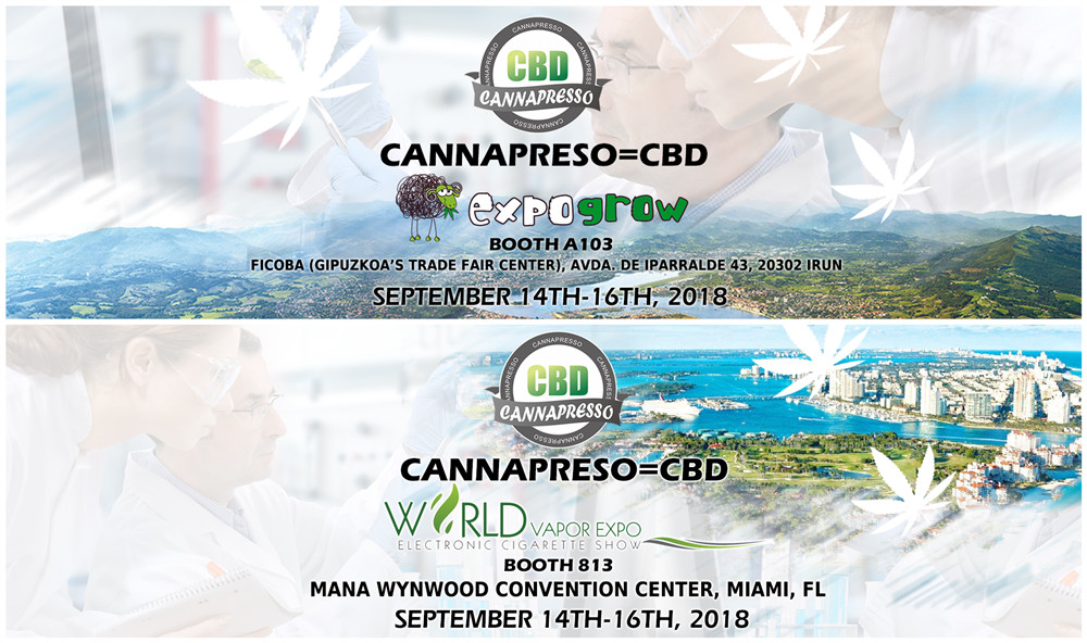 CANNAPRESSO will attend World Vapor Expo and Expo Grow on Sep.14-16th